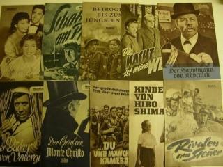 10 Filmprogramme von Progress Filmillustriete,alle um 1954/55.