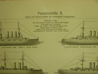 Original sw Holzstich 1906 - Panzerschiffe II.