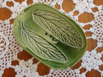 Seifenschale aus  Ton , grün, Einzelstück, Aufbaukeramik