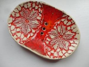 Seifenschale oval, rot - Handarbeit kaufen