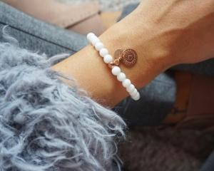 Mandala Armband mit hochwertigen Jadeperlen