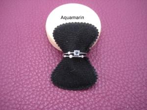 Aquamarin-Ring, Zirkonia Steine, Silberring, Fingerring, 925 Silber, verstellbar, schmal, Stapelring, Ring zierlich, Geschenk für Sie - Handarbeit kaufen