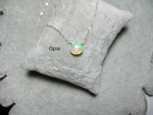 Opal-Kette, Opal Herz, facettiert, Anhänger Opal, 925 Silber, Gold Filled, Rosegold Filled, Geburtsstein Oktober - Handarbeit kaufen