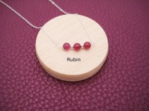 Rubin-Kette, Rubin rund glatt, Rubinperle, Anhänger klein, 925 Silber, Gold Filled, Rosegold Filled, minimalistisch, Edelstein - Handarbeit kaufen