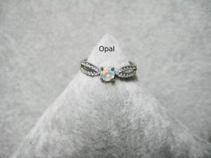 Opal-Ring, Zirkonia Steine, Silberring, Fingerring, 925 Silber, verstellbar, schmal, Stapelring, Ring zierlich, Geschenk für Sie - Handarbeit kaufen