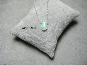 Opal-Kette, Opal Tropfen, facettiert, Anhänger Opal, 925 Silber, Gold Filled, Rosegold Filled, Geburtsstein Oktober - Handarbeit kaufen