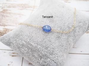 Tansanit-Kette, Geburtsstein Dezember, Tansanit Nugget, Anhänger klein, 925 Silber, Gold Filled, Rosegold Filled, minimalistisch, Edelstein - Handarbeit kaufen