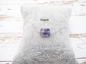 Fluorit-Armband, Fluorit Rechteck, 925 Silber, zierlich, Rosegold Filled, Gold Filled, Edelstein - Handarbeit kaufen