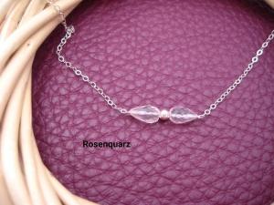 Rosenquarz-Armband, Rosenquarz natürlich, 925 Silber, zierlich, Rosegold Filled, Gold Filled, Edelstein - Handarbeit kaufen