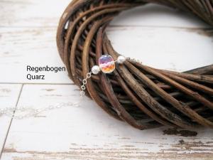 Quarz-Armband, Regenbogen Quarz, 925 Silber, zierlich, Rosegold Filled, Gold Filled, Armband Regenbogen - Handarbeit kaufen