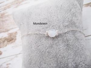 Mondstein-Armband, Regenbogen Mondstein, Blue Flash, 925 Silber, zierlich, Rosegold Filled, Gold Filled, Edelstein - Handarbeit kaufen