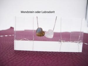 Mondstein-Halskette, Labradoritherz, 925 Silber, Gold Filled, Rosegold Filled, zierlich, minimalistisch, Edelstein - Handarbeit kaufen