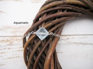 Aquamarin-Armband, Aquamarin Quadrat, 925 Silber, zierlich, Rosegold Filled, Gold Filled, Edelstein - Handarbeit kaufen
