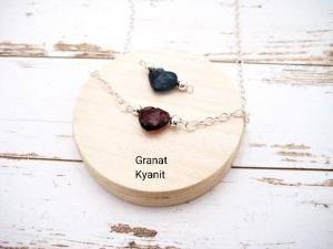 Armband mit Herz, Granat, Kyanit, Silberarmband, 925 Silber, minimalistisch, Edelstein - Handarbeit kaufen