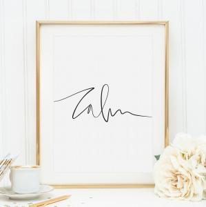 Poster, Kunstdruck, Wandbild, Yoga Poster im Handletteringstil: Calm
