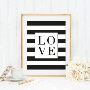 Poster im Skandi-Stil, Digitaldruck, Wandbild im black and white look: Love