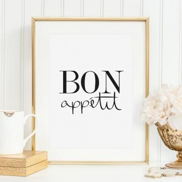 Poster, Kunstdruck für die Küche, Wandbild mit Spruch: Bon appétit