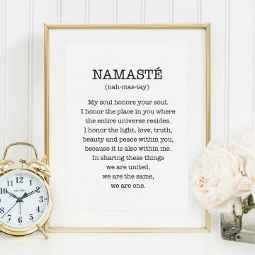 Poster, Kunstdruck, Yoga Wandbild: Namasté