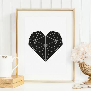 Poster, Wandbild, Kunstdruck im skandinavischen Schwarz-Weiß Design: Geometrisches Herz
