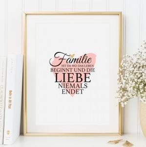 Poster, Kunstdruck mit liebevollem Spruch im Handlettering-Stil: Familie ist da wo das Leben beginnt und die Liebe niemals endet