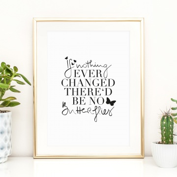 Poster, Kunstdruck mit aufmunterndem Spruch im Handlettering-Stil: If nothing ever changed there'd be no butterflies