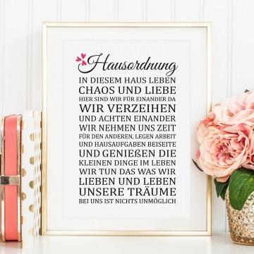 Poster, Wandbild, Kunstdruck mit liebevollem Spruch: Hausordnung