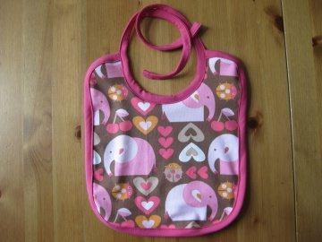 Bio Baby Lätzchen Elefanten rosa, Bio Frottee Rückseite, Latz, GirliElephant