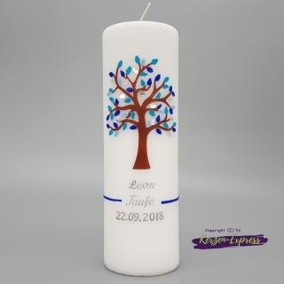 Taufkerze mit Lebensbaum blau/hellblau  ♥ inkl. Name und Datum