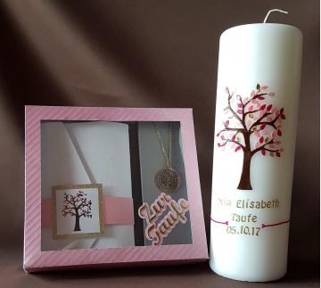 Taufkerze Lebensbaum mit Patenbrief im Set rosa