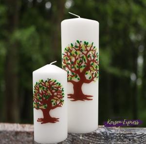 Hochzeitskerze Lebensbaum und Familienkerzen grün/silber