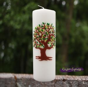 Hochzeitskerze mit großem Lebensbaum grün/silber
