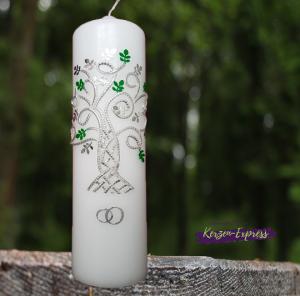 Kerze zur Silberhochzeit inkl. Beschriftung mit Lebensbaum