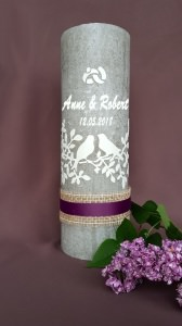 Elegante Hochzeitskerze rustik inkl. Beschriftung