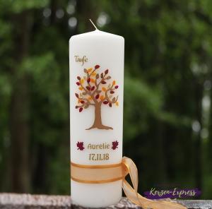 Herbst Taufkerze mit herbstlichem Lebensbaum 250/60 mm *kein Expressaufschlag*