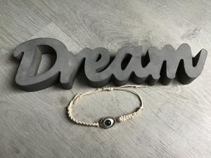 Macrame ♥ Armband ♥ Geschenk ♥ Muttertag ♥ Geburt ♥ Prüfung ♥ Unikat -türkisches Auge wollweiß - Handarbeit kaufen