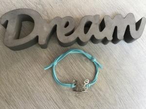 Macrame ♥ Armband ♥ Geschenk ♥ Muttertag ♥ Geburt ♥ Prüfung ♥ Unikat - Familie Velourlederband blau - Handarbeit kaufen