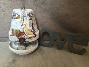 Teelichtofen Teelichtkamin  Sommer Edition für Balkon und Terrasse  ,inkl 3 Teelichter  -  Ente Winter - Handarbeit kaufen