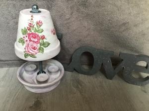 Teelichtofen Teelichtkamin  Sommer Edition für Balkon und Terrasse  ,inkl 3 Teelichter  -  Rosen pink - Handarbeit kaufen
