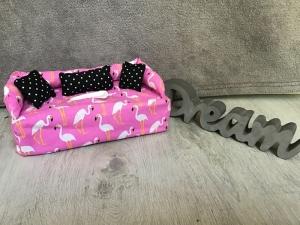 Deko-Sofa ,Kosmetikbox Sofa ,Taschentücherbox Sofa -  Flamingo - Handarbeit kaufen