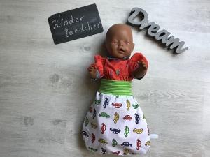 Puppenpucksack Puppenmutti  Schlafsack  Frühchen  - Autos weiß   - Handarbeit kaufen