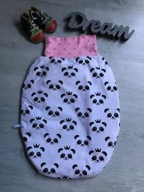 Pucksack Schlafsack Fußsack Baby  gefüttert - Pandagesicht weiß - Handarbeit kaufen