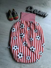 Pucksack Schlafsack Fußsack Baby  ungefüttert - Fußball rotweiß - Handarbeit kaufen