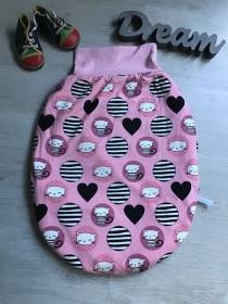 Pucksack Schlafsack Fußsack Baby  gefüttert -  Katzen rosa - Handarbeit kaufen