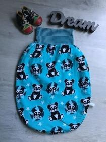 Pucksack Schlafsack Fußsack Baby  gefüttert Geschenk Geburt Taufe -  Panda türkis - Handarbeit kaufen