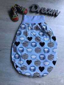 Pucksack Schlafsack Fußsack Baby  gefüttert -  Katzen blau - Handarbeit kaufen