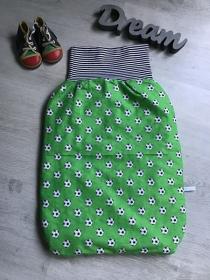 Pucksack Schlafsack Sommerschlafsack Baby  Geschenk  ungefüttert - Fußball grün - Handarbeit kaufen
