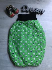 Pucksack Schlafsack Sommerschlafsack Baby  Geschenk  gefüttert - Fußball grün  - Handarbeit kaufen