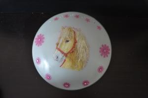 Kinderlampe Wandlampe Deckenlampe Lampe - Pferd mit rosa Blumen - Handarbeit kaufen