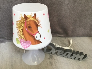 Nachttischlampe Kinderlampe  Lampe Baby -  Pferd Herzen