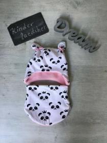 Öhrchenmütze & Halssocke Set ❤️ Gr  46 - 50 Jersey und Sweatfleece ❤️ - Panda - Handarbeit kaufen
